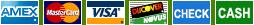 AMEX/MasterCard/VISA/Discover/Check/Cash